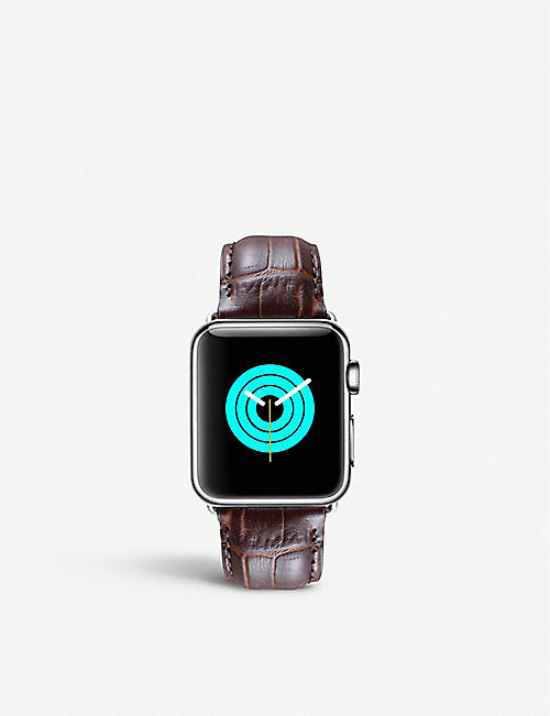 MINTAPPLE: Apple Watch alligator-embossed leather strap and stainless steel case 42mm/44mm