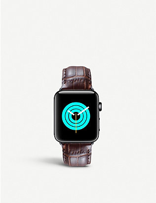MINTAPPLE: Apple Watch alligator-embossed leather strap and stainless steel case 38mm/40mm