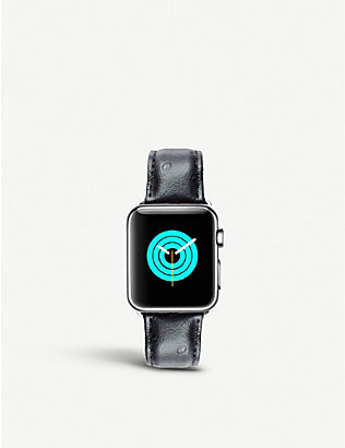 MINTAPPLE: Apple Watch ostrich-effect leather strap 42mm/44mm