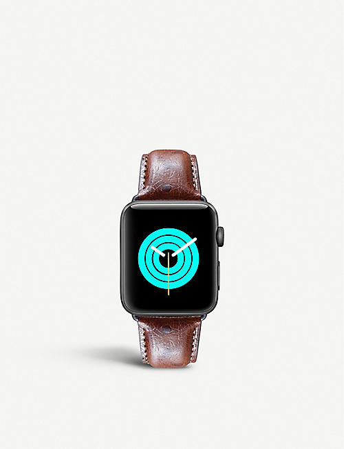 MINTAPPLE: Apple Watch ostrich-embossed leather strap 38mm/40mm