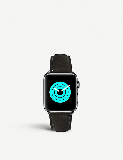 MINTAPPLE: Apple Watch matte coated stainless steel and suede strap 38mm/40mm