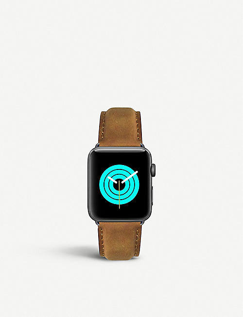 MINTAPPLE: Apple Watch matte coated stainless steel and suede strap 42mm/44mm
