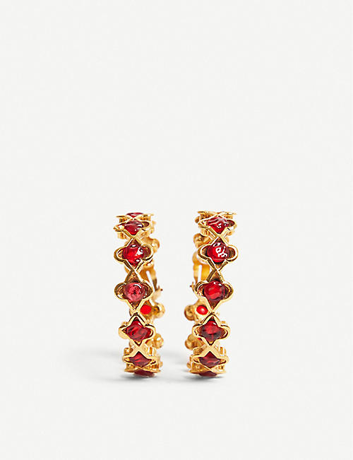 VESTIAIRE COLLECTIVE Chanel gold-tone and stone-embellished hoop earrings