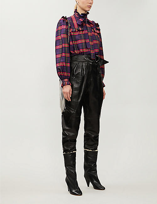VESTIAIRE Saint Laurent checked silk shirt