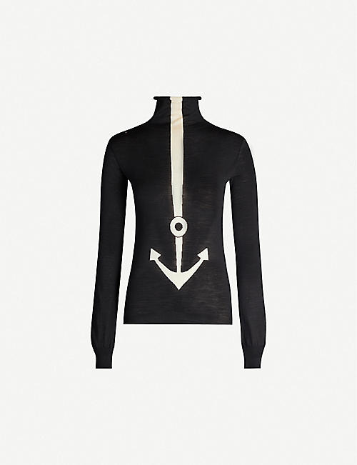 VESTIAIRE Balenciaga anchor-intarsia turtleneck wool jumper
