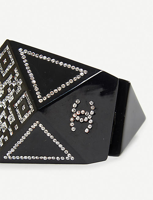 VESTIAIRE COLLECTIVE Chanel resin and rhinestone cuff 4.9cm