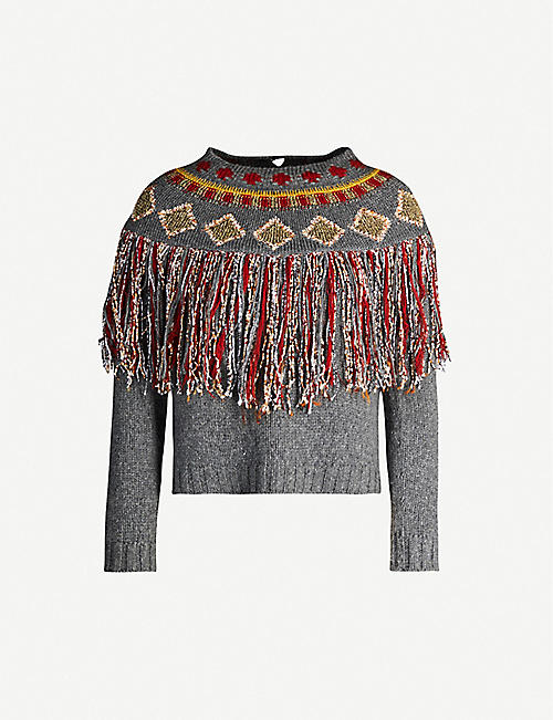 VESTIAIRE COLLECTIVE Christian Dior geometric-embroidered cashmere jumper