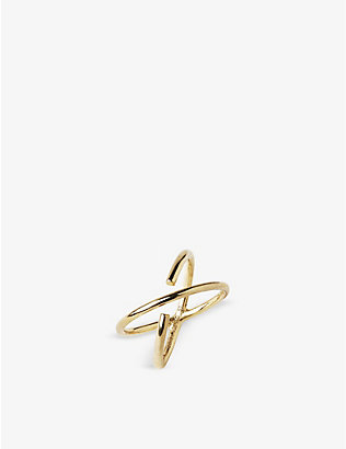 MARIA BLACK: Twin gold-plated sterling silver ring