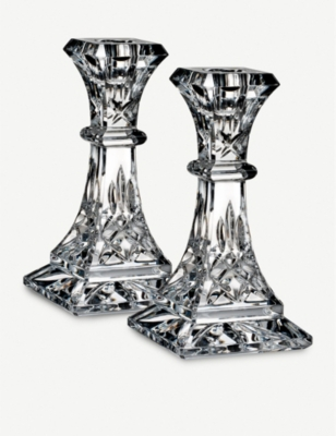 WATERFORD Lismore pair of crystal candlesticks 15cm