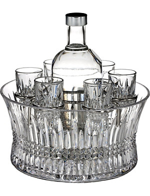 WATERFORD Lismore Diamond vodka set with six shot glasses