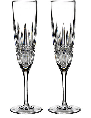 WATERFORD: Lismore Diamond Champagne Flutes set of two