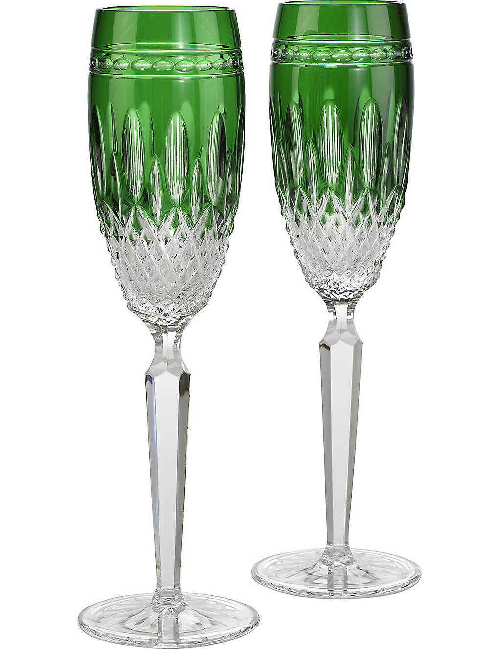 WATERFORD: Clarendon emerald champagne flutes set of two