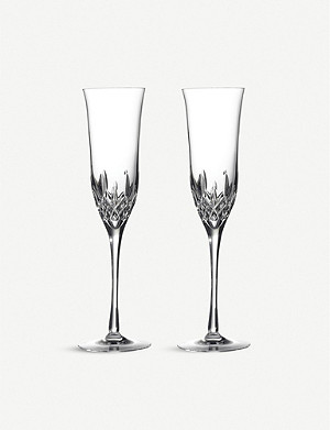 WATERFORD Set of two Lismore essence champagne glasses