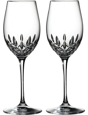 WATERFORD Lismore Essence pair of crystal white wine glasses