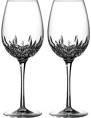 WATERFORD: Lismore Essence pair of crystal red wine glasses