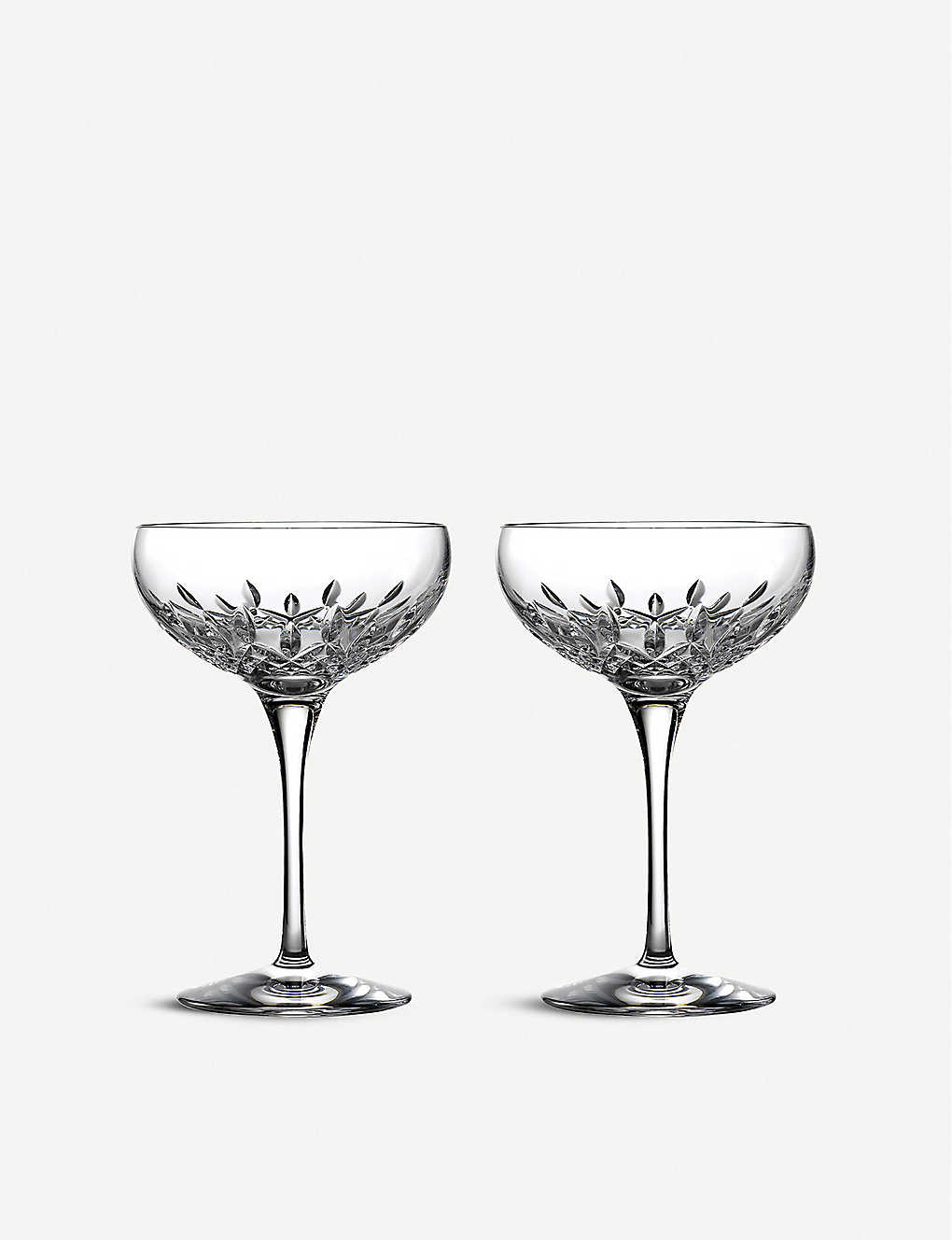 WATERFORD: Lismore Essence champagne saucer, set of 2