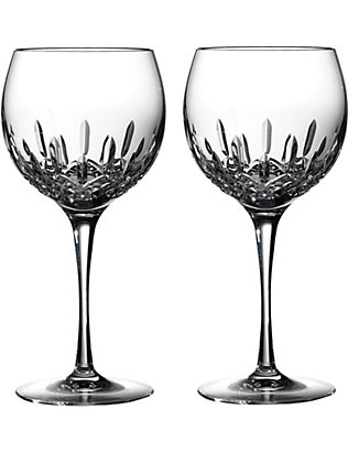 WATERFORD: Lismore Essence pair of crystal balloon wine glasses