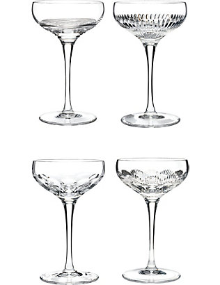 WATERFORD: Mixology crystal champagne coupe glasses set of four