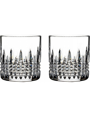 WATERFORD Lismore old fashioned crystal tumblers set of2
