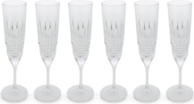 WATERFORD Lismore crystal champagne flute set 6 piece