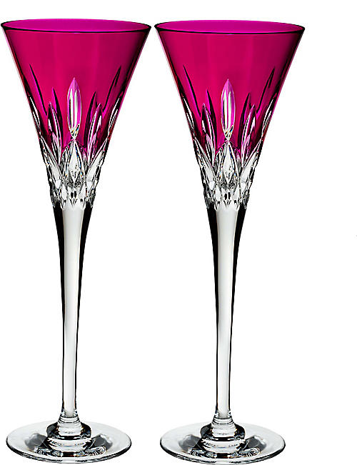 WATERFORD: Lismore Pops Hot Pink crystal toasting flutes set of two