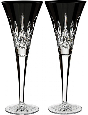 WATERFORD Lismore Black toasting flutes (set of 2)