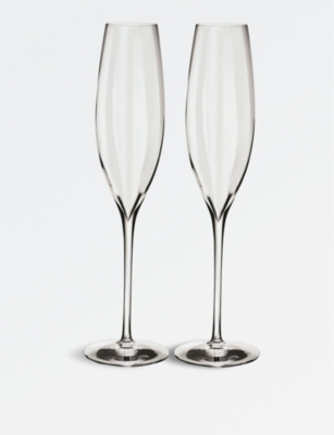 WATERFORD Elegance Optic flute crystal champagne glasses set of two