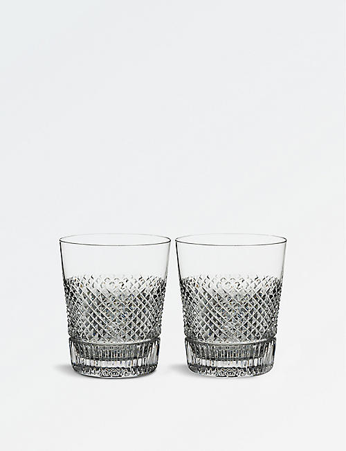 WATERFORD: Diamond Line crystal tumblers set of two