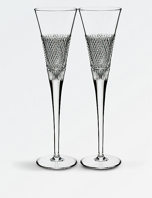 WATERFORD Diamond Line crystal flute glasses set of two