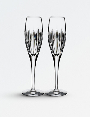 WATERFORD Set of two Arden Mara crystal flutes