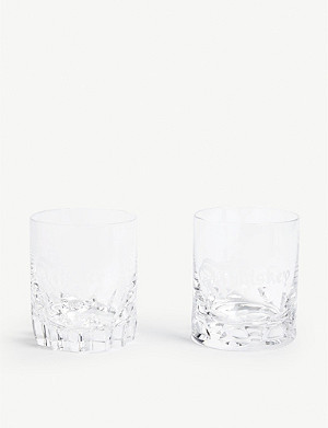 WATERFORD Whiskey & Water Double Old Fashioned tumblers set of two