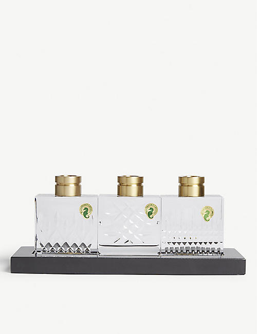 WATERFORD: Lismore Short Stories candle stick holder set of three