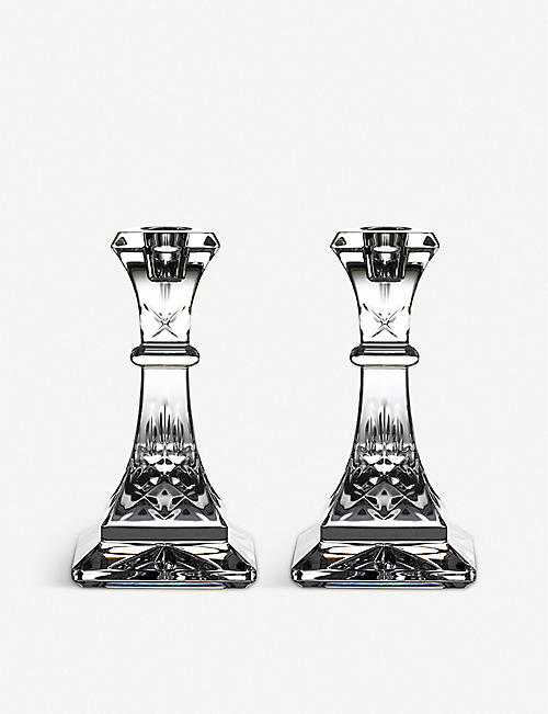 WATERFORD: Lismore crystal candlesticks set of two