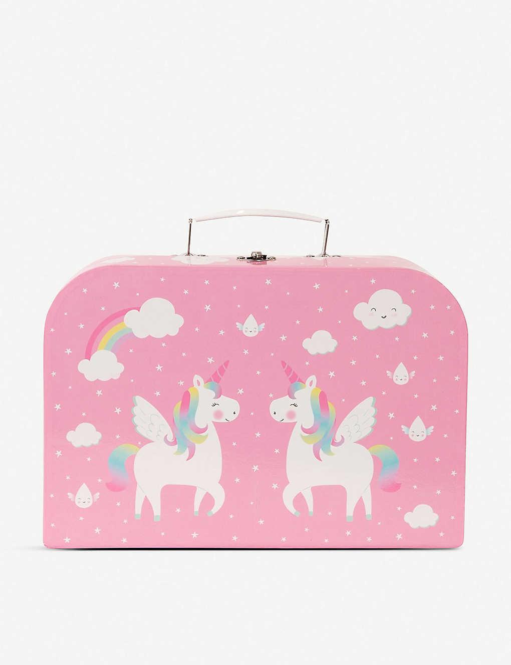 Kids Pink Rainbow Unicorn Summer Picnic Box Tea Set Vintage Toy Gift