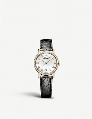 CHOPARD: Classic 18ct rose-gold, diamond and alligator-embossed leather watch