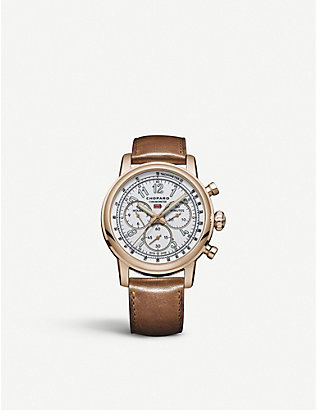 CHOPARD: 161299-5001 Mille Miglia Classic XL 90th Anniversary 18ct rose-gold and leather chronograph watch