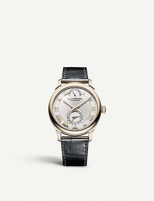 CHOPARD: 161926-5001 L.U.C Quattro 18ct rose-gold, silver and alligator-embossed leather watch