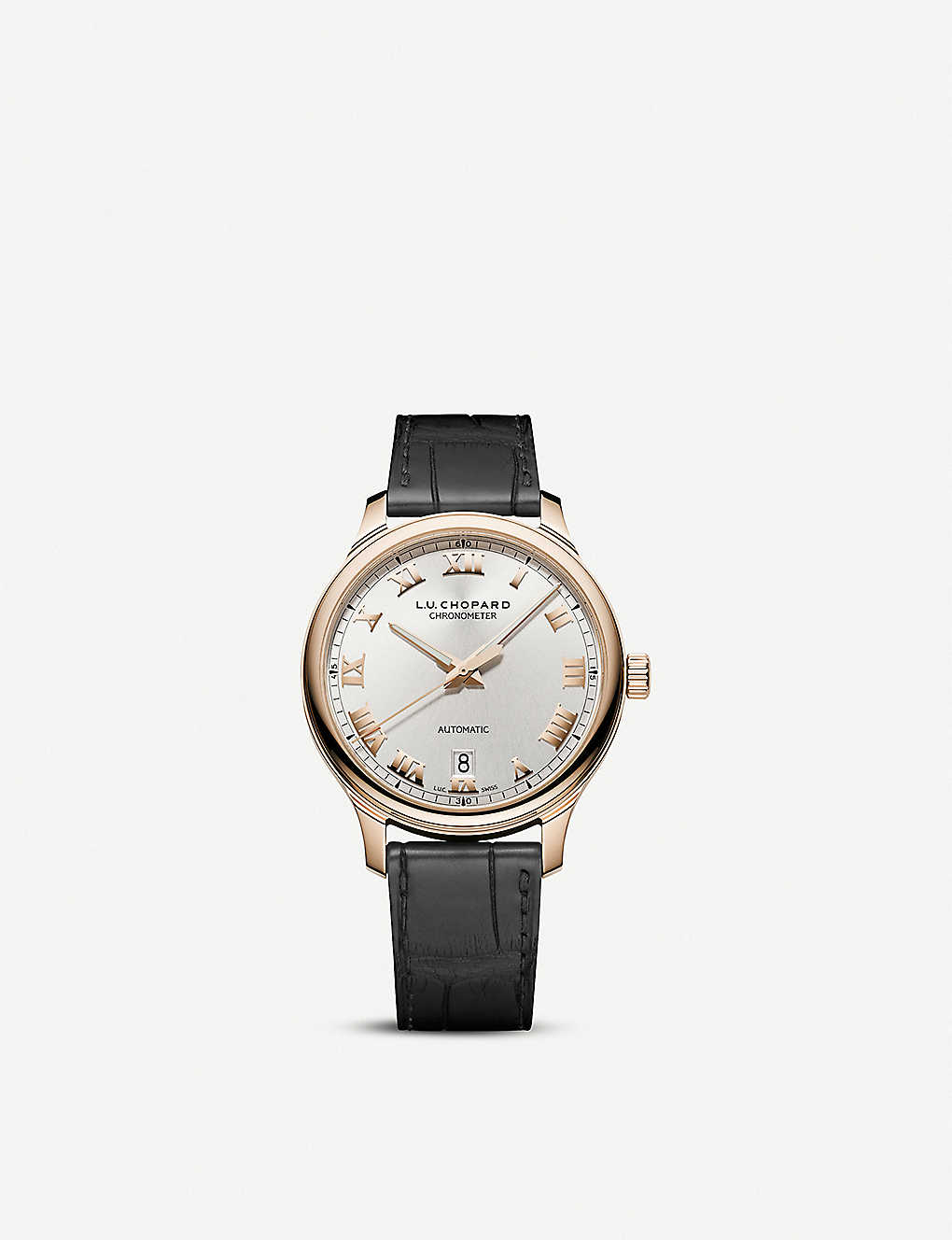 CHOPARD: L.U.C 1937 Classic 18ct rose-gold and alligator-embossed leather watch