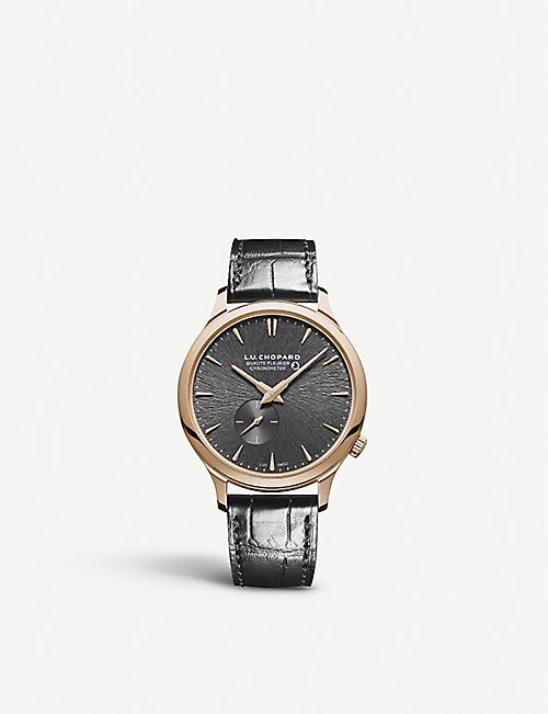 CHOPARD: 161945-5001 L.U.C XPS Twist QF Fairmined 18ct rose-gold and alligator-embossed leather watch