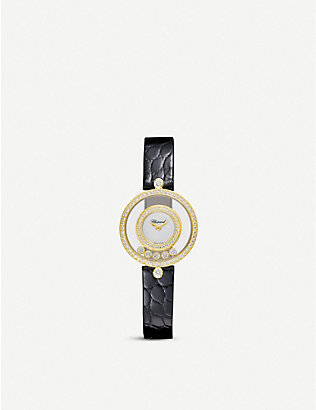 CHOPARD: Happy Diamonds Icons 18ct yellow-gold, diamond and alligator-embossed calfskin leather watch