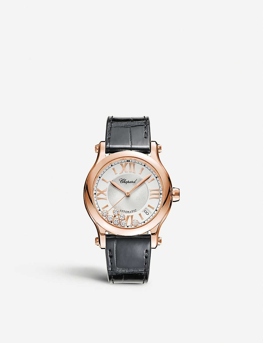 CHOPARD: Happy Sport medium 18ct rose-gold diamond and alligator-embossed leather automatic watch