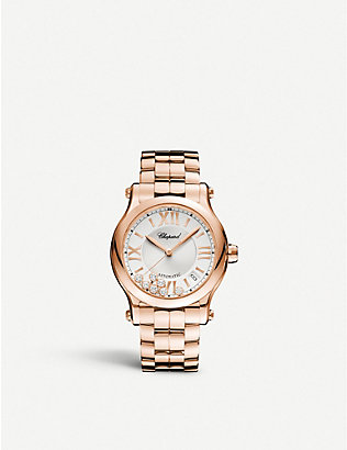 CHOPARD: Happy Sport Medium Automatic 18ct rose-gold and diamond watch