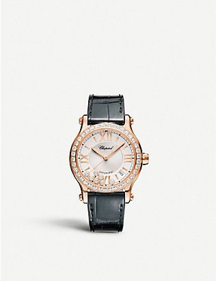 CHOPARD: 274808-5003 Happy Sport 18ct rose-gold and diamond watch