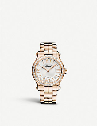 CHOPARD: Happy Sport Medium rose-gold and diamond watch