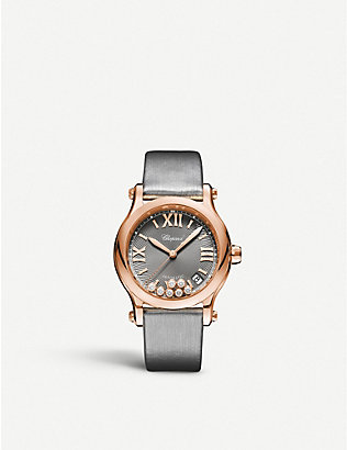 CHOPARD: 274808-5012 Happy Sport 18ct rose-gold and diamond watch