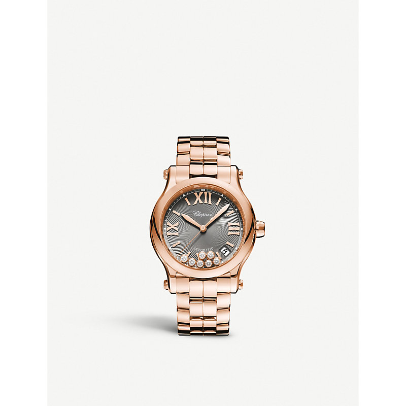 Chopard 274808-5013 HAPPY SPORT 18CT ROSE-GOLD AND DIAMOND WATCH