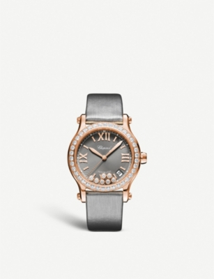 CHOPARD 274808-5014 Happy Sport 18ct rose-gold and diamond watch