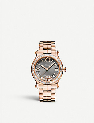 CHOPARD: 274808-5015 Happy Sport 18ct rose-gold and diamond watch