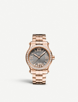 CHOPARD 274808-5015 Happy Sport 18ct rose-gold and diamond watch