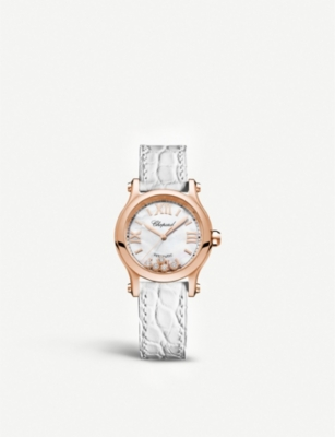 CHOPARD 274893-5009 Happy Sport 18ct rose-gold, diamond and alligator-leather watch